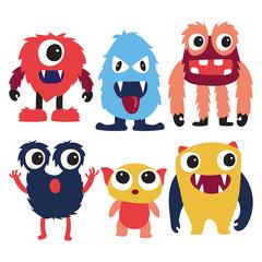 Poster Uilen cartoon monster character collection design