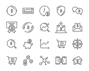 set of cryptocurrencty vector thin line icons