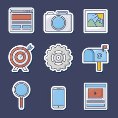 icon set of innovation and technology concept over blue background, colorful vector illustration