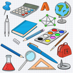 School doodle. Colored set of stationery tools, on lined paper background