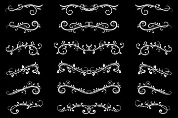 Dividers. White filigree floral decorations on black background