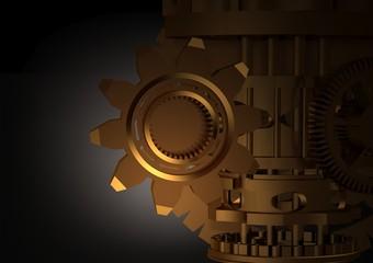 Golden gear mechanism on a black