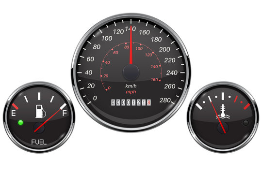 Car dashboard black gauges set. Fuel gauge, speedometer, temperature indicator
