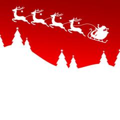 Flying Christmas Sleigh Santa 4 Reindeers Stars Forest Red
