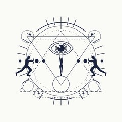 Mystery, witchcraft, occult and alchemy tattoo sign. Mystical vintage gothic geometry thin lines symbol with silhouettes of a men and woman holding eye