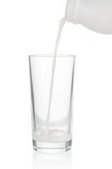 Pouring milk in glass on white background