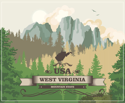West Virginia travel colorful postcard. USA poster