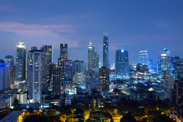 Bangkok city skyline at night beautiful view.
