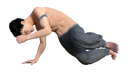 3D Rendering Fighting Monk on White