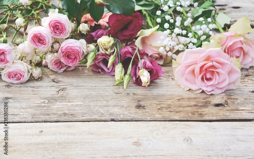 Grusskarte Blumenstrauss Vintage Rosen Rosa Stock Photo And Royalty