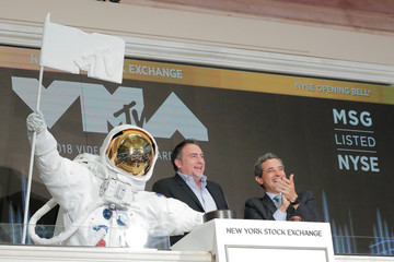 "The MTV ""Moon Person"" rings the opening bell to celebrate 2018 MTV Video Music Award's at the NYSE in New York"