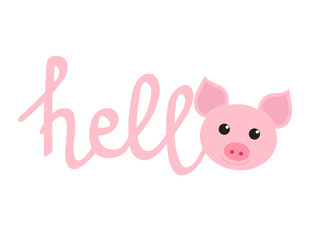 """Funny pig and lettering """"Hello"""" for your design. Symbol of the new year 2019"""