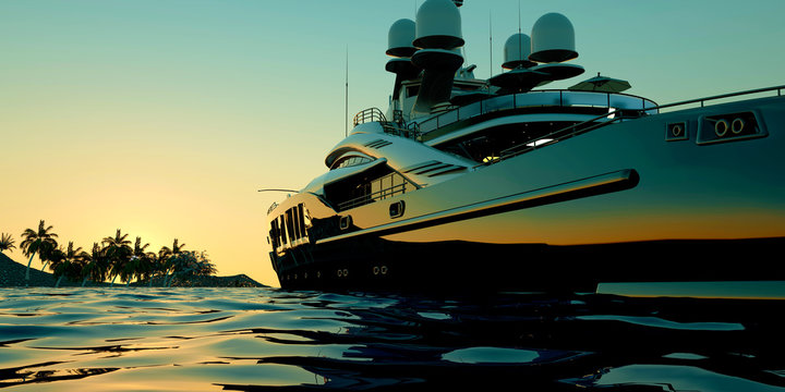 Extremely detailed and realistic high resolution 3d illustration of a luxury Mega Yacht.