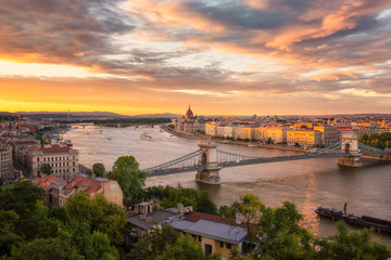 Amazing sunset above Hungarian Parliament in Budapest