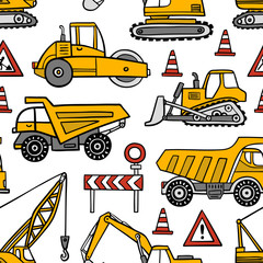Hand drawn construction cars seamless vector pattern on white background.