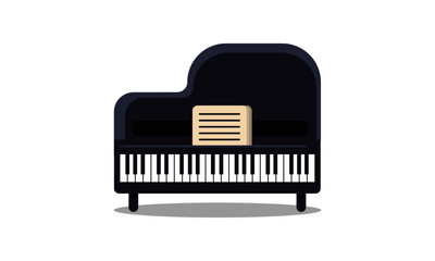 Piano Vector Illustration in Flat Style Design