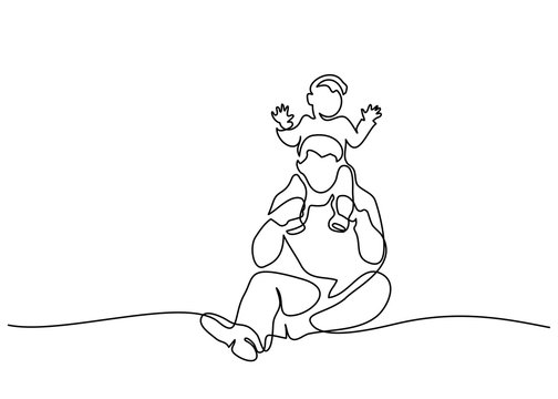 Continuous one line drawing. Family concept. Father and child sitting together. Vector illustration