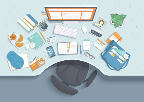 Top view of modern and stylish workplace. Table with recess, chair, monitor, books, notebook, headphones, phone, glasses, calendar, paper, tea, croissants, bag, cap. Vector illustration Top view