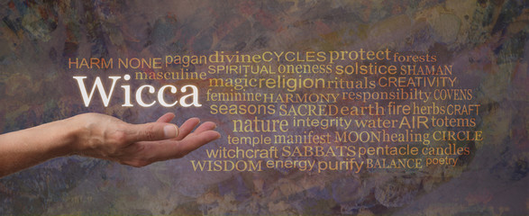Harm None Wiccan Word Tag Cloud - female open palm hand with WICCA floating above and a relevant word cloud on a rustic earth coloured rustic background