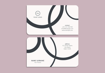 Business Card Layout with Overlapping Circular Elements
