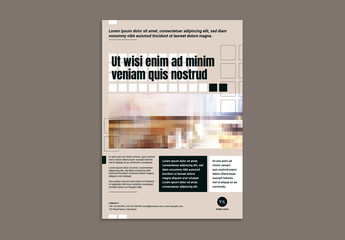 Business Flyer Layout with Repeating Square Elements