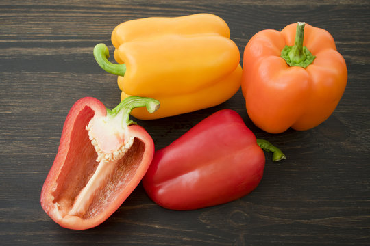 Red, Orange, and Yellow Bell Peppers