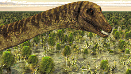 Huge Diplodocus in wetland at sunset, 3d illustration