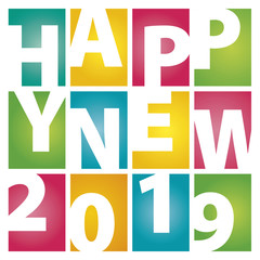 Happy New Year 2019 rectangle color letters white background