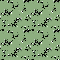 UFO military camouflage seamless pattern in green black and white colors