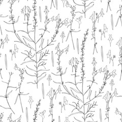 Seamless floral pattern Linaria vulgaris, common toadflax, yellow toadflax or butter-and-eggs is a species of toadflax, snapdragon, Plantaginaceae family, hand drawn vector ink sketch illustration