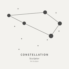 The Constellation Of Sculptor. The Sculptor - linear icon. Vector illustration of the concept of astronomy.