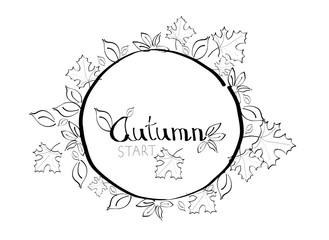 Autumn circle illustration