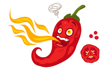 chilli pepper with flame.
