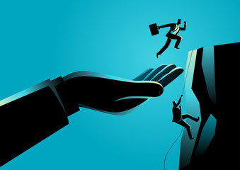 Hand helping a businessman to reach higher platform