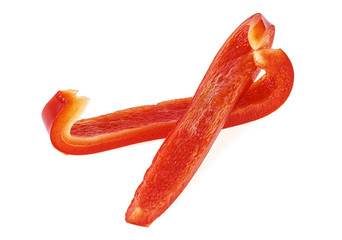 Red bell pepper slices on white background