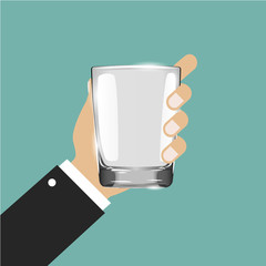 Realistic empty drinking glass on gray background. Hand holding drinking glass. Empty drinking glass cup. Transparent glass. Vector illustration.