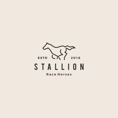 stallion horse running race logo hipster vintage line outline monoline vector