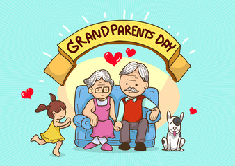cartoon grandparents with love child and dog,multi colour,bright background colour