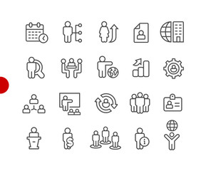 Human Resources Icons // Red Point Series - Vector line icons for your digital or print projects.