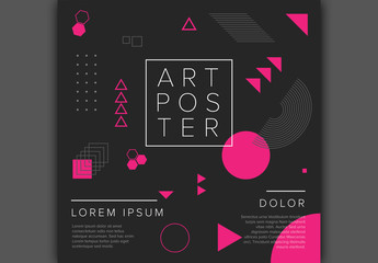Flyer Layout with Pink and Gray Geometric Elements