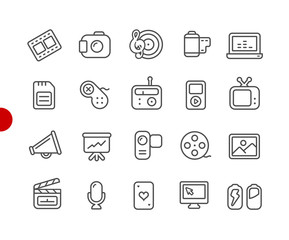 Multimedia Icons // Red Point Series - Vector line icons for your digital or print projects.