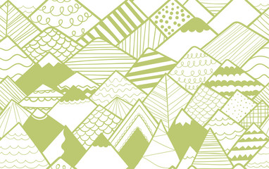 Seamless repeat pattern of hand drawn cute mountains. Suitable for textile, kids' fashion, stationery, home decor and digital applications.