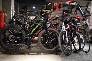 Bicycles are seen at the Specialized store in Lima