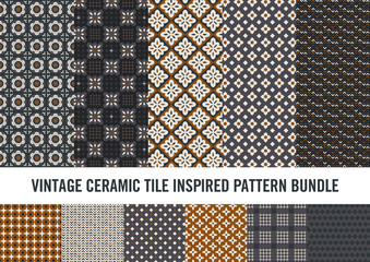 Modern take on vintage ceramic tile inspired patterns. Sophisticated look suitable for notebook covers, greeting cards, tiles, wallpaper, textile and more