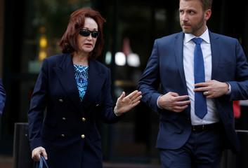 Kathleen Manafort leaves during the second day of jury deliberations in the trial against Paul Manafort in Alexandria, Virginia
