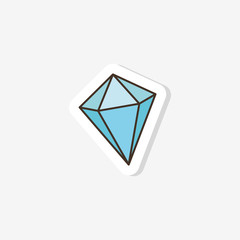 icon of diamond doodle in the style of pop art. Vector illustration for design. Sticker, badge, patch.