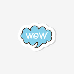 "doodles in the form of a cloud with the inscription ""wow""  in the style of pop art. Vector illustration. Fashionable design of clothes for girls. Sticker, badge, patch."