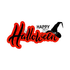 Halloween. Hand drawn vector illustration with spider, witch hat and web on white background. Template as scary banner, print, poster, design. Celebration lettering typography poster, party invitation
