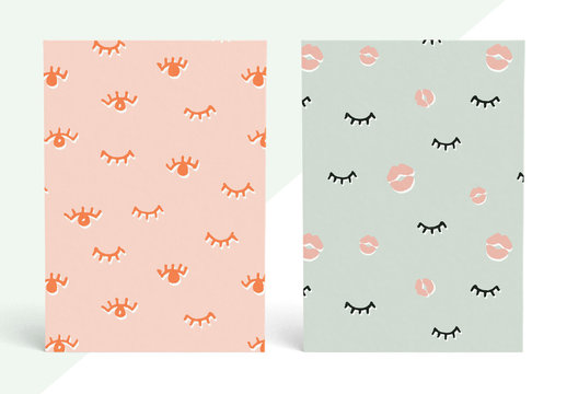 Illustrated Eyes and Lips Patterns