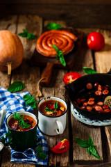 Pumpkin and chorizo soup.style rustic